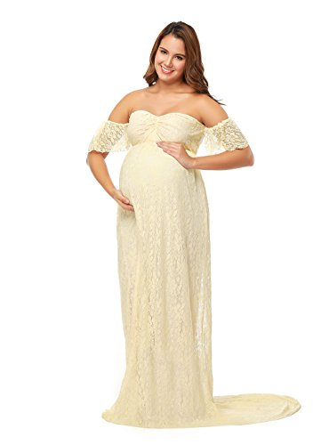 JustVH Maternity Off Shoulder Ruffle Sleeve Lace Wedding Gown Maxi Photography Dress for Photo Shoot Dress Beige