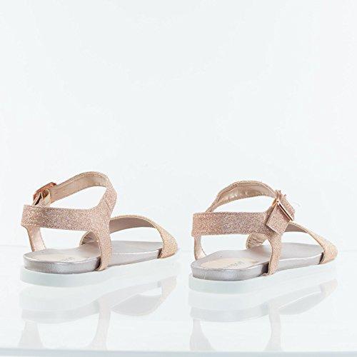 Bamboeflat Sandaal Op Flexibel Loopzool Van Rubber Voetbed Met Contouren Rose Goud Glitter