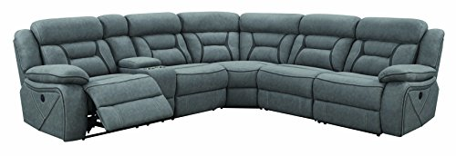 Coaster Home Furnishings Reclining Power Sectional Sofa in Gray