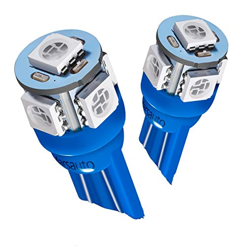 Marsauto 10pcs Blue T10 194 168 Bright Instrument Panel Dashboard LED Light Bulbs No-polarity 2825 5SMD Dome Map License Plate Lights Lamp 12V (Pack of 10) ()