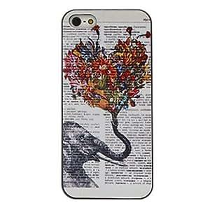 CL - Con flores patrón caso elefante coloreado dibujo negro marco dura de la PC para el iphone 5/5s