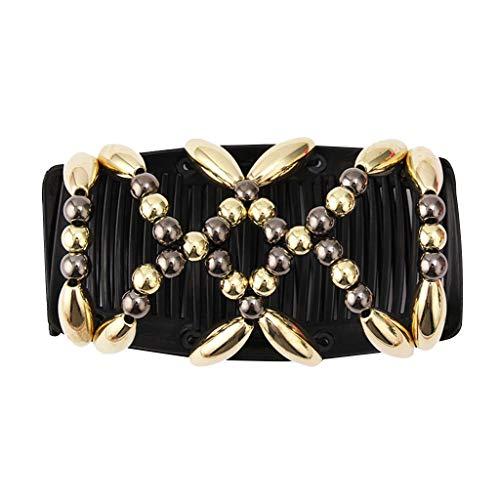 MIS1950s Bead Stretchy Women Versatile Elastic Hair Comb Clip Magic Changeable Headdress Hair Accessories (Gold)