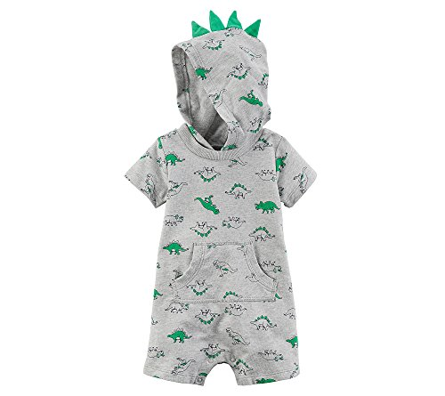 Carter's Baby Boys' Short Sleeve Dino Print Hooded Romper 3 Months