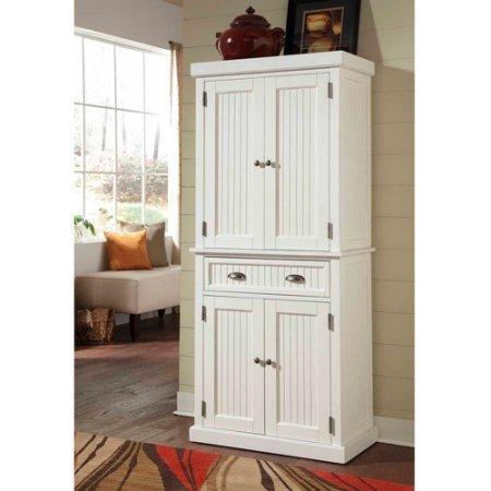 - Furniture Utility Kitchen Organizer Cupboard Tall Furniture Bathroom hardwood distressed white Storage drawer 2 cabinet doors 2 adjustable shelves brushed nickel hardware wood pantry 30