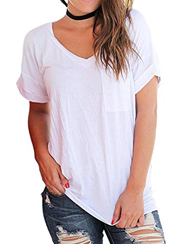 (AKEWEI Women's Basic V Neck Short Sleeve T Shirt Casual Blouse with Pocket White S)