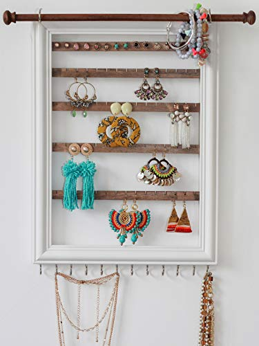 Mymazn Wood Wall Mounted Jewelry Organizer Rustic Stud Earring Hanger for Women, Girls | Wooden Jewelry Holder Display with Removable Bracelet Rod and Hook for Necklaces (White)