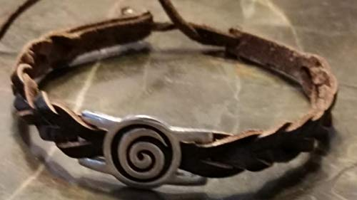 (Irish Pewter Brown Leather Spiral Woven Adustable Bracelet)
