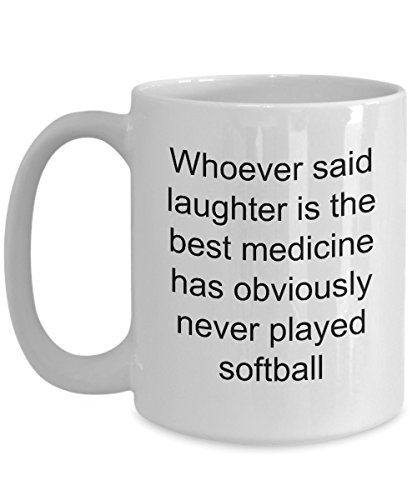 Softball Coffee Mug Novelty Ceramic Tea Cup Unique Gift Idea For Mom Dad Men Women Coach Players - Fastpitch Slowpitch