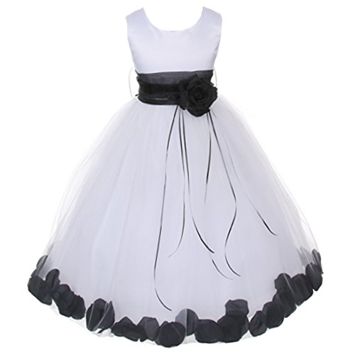 White Organza Black Sash Dress (Big Girls White Sleeveless Satin Bodice Floating Flower Petals Girl Dress with Matching Organza Sash and Double Tulle Skirt - Black Set - Size 12)