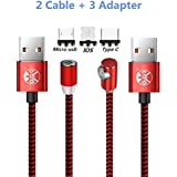 UGI 90 Degree Round L-Shape Cable Phone Charge Micro USB C Magnetic Type C Cable Right Angle 6.6ft Nylon Braided Charging Cord Compatible with Android Samsung S6,S7,S8,LG,HTC,Huawei,All Phone Devices