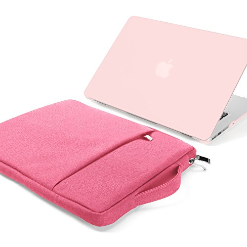GMYLE MacBook Air 13 Inch Case A1466 A1369 Old Version 2010 2017 and 13 13.3 Inch Handle Carrying Sleeve Bag 2 in 1 Set (Baby Pink & Pink)