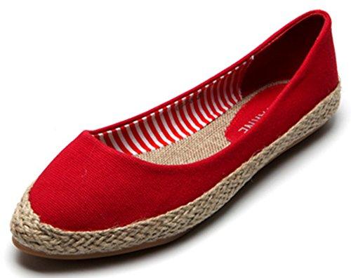 Sfnld Kvinna Söta Vävda Spetsiga Lågt Skuren Halka På Flats Shoes Red