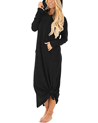 GIKING Women's Hooded Long Sleeve Split Pockets Sweatshirt Pullover Casual Long Dress Black S (Jumper Black Long)