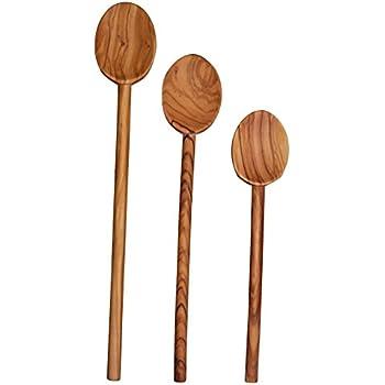 """Scanwood Olive Wood Spoon (3 Cooking Spoon Set 10"""" 12"""" 14"""")"""