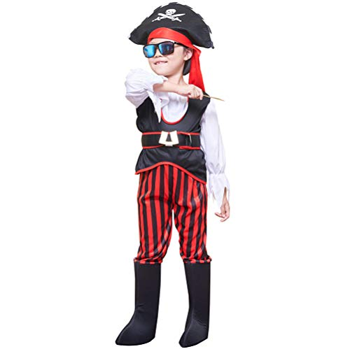 Shallylu Kids Cosplay Pirate Costumes, Dress Up Pirate Costumes for Kids Boys Girls Cosplay, Birthday, Pretend Play, Theme Party, Halloween, Christmas Party Favors (4-6 Years)