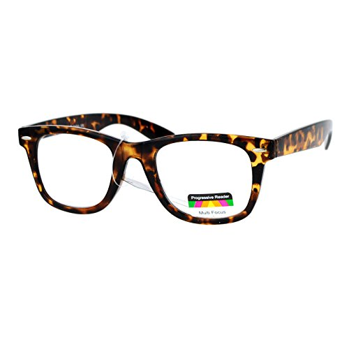 Multi Focus Progressive Reader Glasses 3 Powers in 1 Square Tortoise +1.50 ()