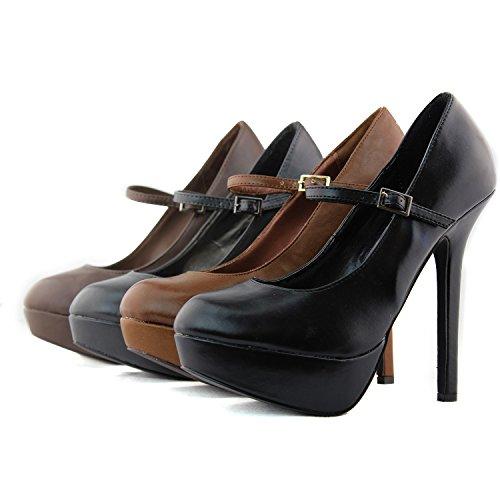 Vrouwen Pompen Platform Stilettos Hoge Hak Stilettos Mary Jane Pumps Mode Schoenen Tan