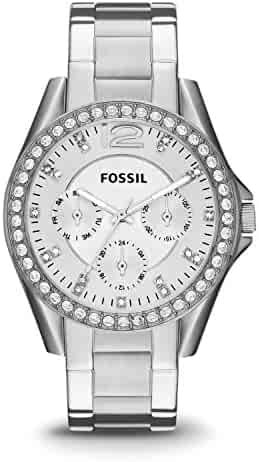 Fossil Women's Riley Quartz Stainless Steel Chronograph Watch, Color: Silver (Model: ES3202)
