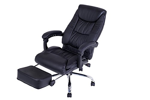 Kadirya Reclining Office Chair - High Back Executive Leather Chair with Adjustable Angle Recline Locking System and Footrest, Thick Padding For Comfort and Ergonomic Design For Lumbar Support