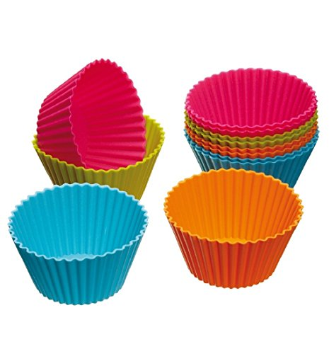 Mikey Store 12-Pack, Silicone Baking Cups, Cupcake Cases, Reusable Cupcake Liners Cake Molds in Storage Container (London Halloween Stores)
