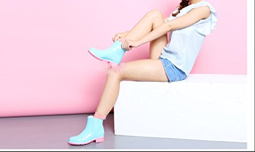 Moda tubo corto cargadores de lluvia impermeables botas de lluvia de otoño e invierno el agua zapatos zapatos zapatos de las muchachas Azul