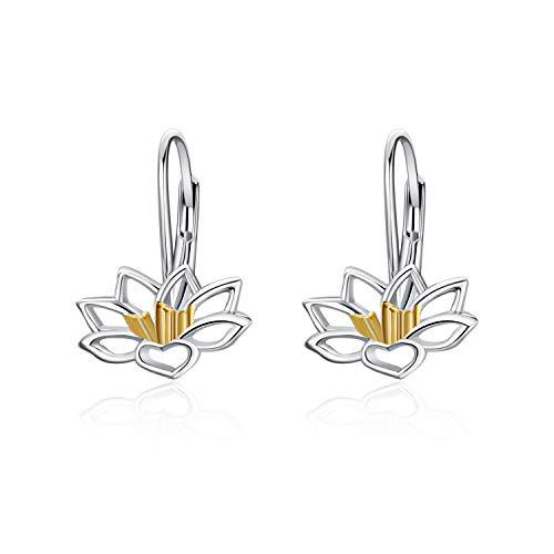 (Rose Dangle Earrings for Women Girls 925 Sterling Silver Filigree Rose Flower Leverback Earrings (Lotus Dangle Earrings))