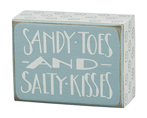 primitives by kathy sandy toes and salty kisses teal beach distressed wooden box sign 23871 new