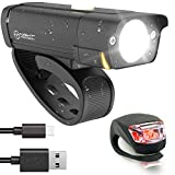 POWERFUL BX-300 CREE XP-G2 Bike Light Set USB Rechargeable Front Headlight w/Amber Side Alert + Bonus Free Rear LED Bike Light For Adults Men Women Kids Front & Back Road Cycling Bicycle Safety Lights