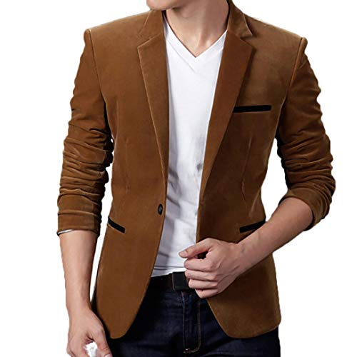 SPE969 Corduroy Men's Coat Suit Autumn Winter Casual Slim Long Sleeve Jacket Blazer Top Khaki ()