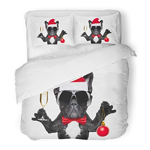 Bulldogs Santa Pillow (Emvency Bedding Duvet Cover Set Full/Queen (1 Duvet Cover + 2 Pillowcase) Santa Claus French Bulldog Dog Toasting Xmas Cheers With Champagne Glass And Victory Hotel Quality Wrinkle and Stain Resistant)