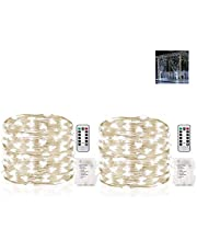 Gluckluz String Lights Indoor Bedroom Fairy Light Waterproof Battery Operated 200 LED Lighting Copper Wire with Remote Control for Outdoor Home Garden Patio Party Holiday (Cool White, 2 Pack)