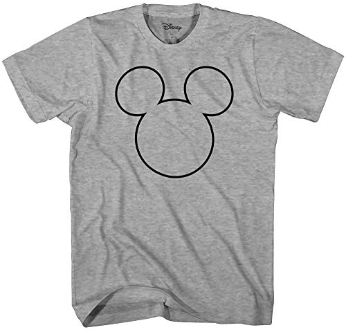 (Disney Mickey Mouse Black Outline Silhouette Men's Adult Graphic Tee T-Shirt (Grey Heather, Medium) )