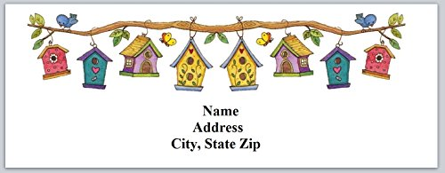 (120 Personalized Address labels Birdhouses (bh 1))