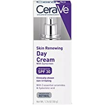 CeraVe Skin Renewing Day Cream - Retinol Cream w Sunscreen / Multipurpose Anti Aging Face Cream, Face Moisturizer & Face Sunscreen w Retinol, Hyaluronic Acid & SPF 30, 1.76 oz