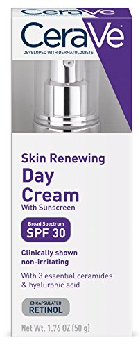CeraVe Skin Renewing Day Cream - Retinol Cream w Sunscreen / Multipurpose Anti Aging Face Cream, Face Moisturizer & Face Sunscreen w Retinol, Hyaluronic Acid & SPF 30, 1.76 oz by CeraVe