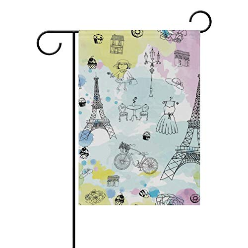 SmallGardenflagMim Watercolor Paris Eiffel Towel Decorative Garden Flag Banner Polyester Welcome Seasonal Indoor Outdoor 12x18 Inch