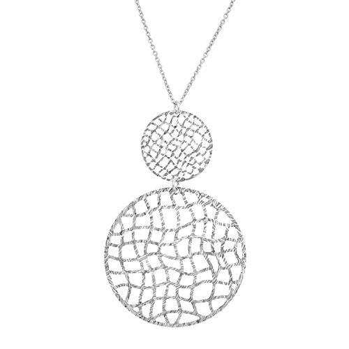 Organic Disc Drop Pendant Necklace in Sterling Silver (Disc Organic Pendant)