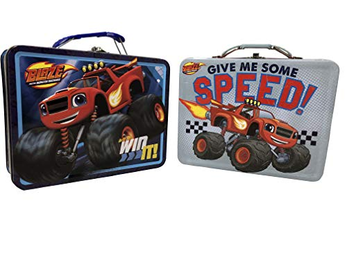 Set of 2 Monster Truck School Lunch Box. In It To Win It. Give Me Some Speed