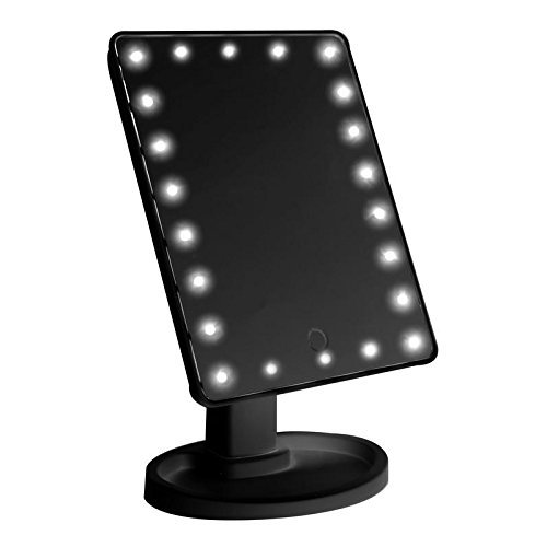 Carejoy Lighted Makeup Mirror 22 LEDS Natural Daylight Vanity Mirror 180 Degree Rotation Adjustable Touch Screen Batteries Operated Black