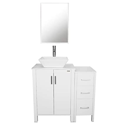 Fine 36 Bathroom Vanities Porcelain Vessel Sink Square Sink Chrome Faucet Drain Parts 36 Bathroom Cabinet Set 24 Vanity X 1 12 Small Cabinet X 1 Home Interior And Landscaping Palasignezvosmurscom