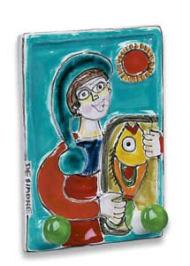 Hand Painted De Simone Double Hook with Boy - Handmade in Sicily