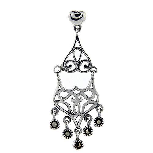 (Sterling silver Marcasite chandelier Dangle Drop Earrings double tired Fleur De Lis 1 3/4 inch long)