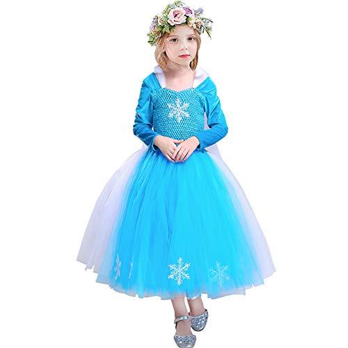 (CQDY Elsa Princess Dress, Sleeveless Frozen Snow Girl Party Dress Tutu Dress (6-7 Years Old, Blue Dress)