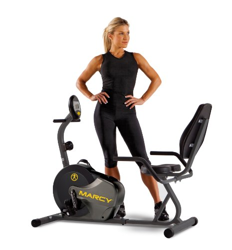 Marcy Magnetic Recumbent Exercise Bike with Adjustable Length and 8 Resistance Levels NS-716R