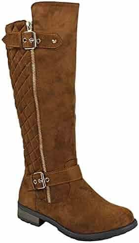 Forever Mango-21 Women's Winkle Back Shaft Side Zip Knee High Flat Riding Boots Tan Nubuck 8.5