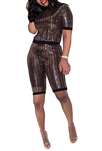 Womens Two Piece Outfits Sequin Short Sleeve Crop Tops Short Pants Sweatsuits Tracksuits Set