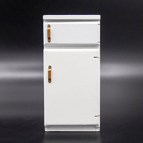 Odoria 1:12 Miniature 2 Door Fridge White Wooden Dollhouse Furniture Accessories