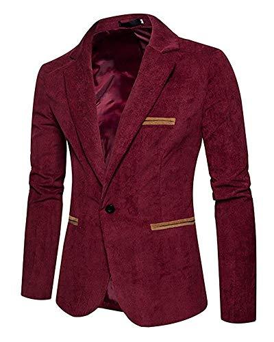 Rouge En Homme Un Oudan Pour Fit À Large Costume Côtelé Formel Taille Blazer coloré Slim Bouton Velours Vineux 685qpwHW8