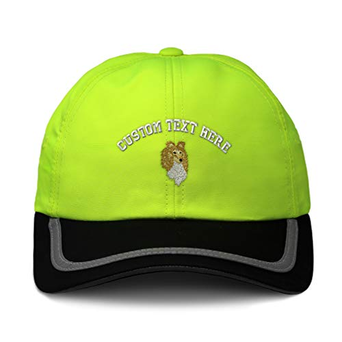 (Custom Reflective Running Hat Shetland Sheepdog Head Embroidery Soft Neon Hunting Baseball Cap One Size Neon Yellow/Black Personalized Text Here)