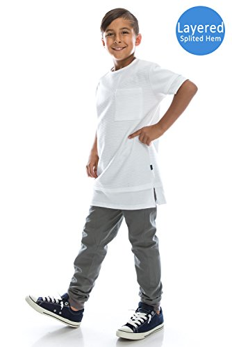 Boys Hipster Hip Hop Embossing Layer T-Shirt With Side Slit WHITE Large